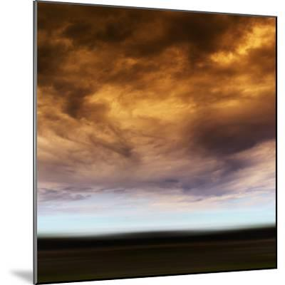 Square Orange Vivid Radiation Cloudscape Storm Motion Abstractio-Nickolay Loginov-Mounted Photographic Print