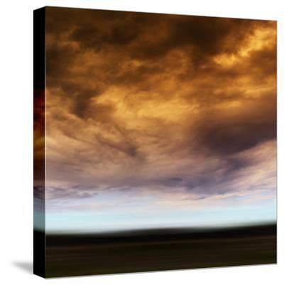 Square Orange Vivid Radiation Cloudscape Storm Motion Abstractio-Nickolay Loginov-Stretched Canvas Print