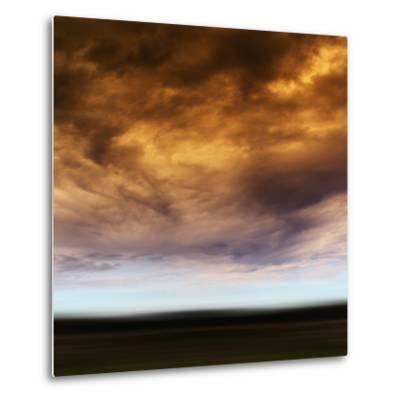 Square Orange Vivid Radiation Cloudscape Storm Motion Abstractio-Nickolay Loginov-Metal Print