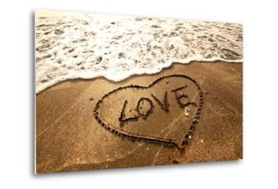 Love Concept Handwritten on Sand- Kawing921-Metal Print