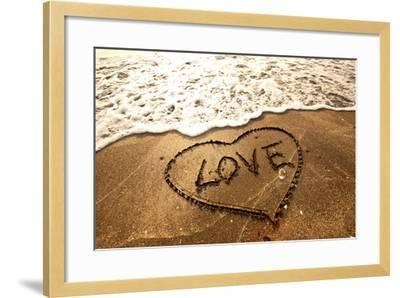 Love Concept Handwritten on Sand- Kawing921-Framed Photographic Print