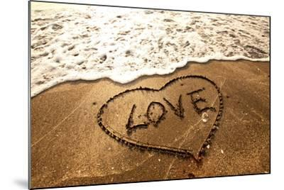 Love Concept Handwritten on Sand- Kawing921-Mounted Photographic Print