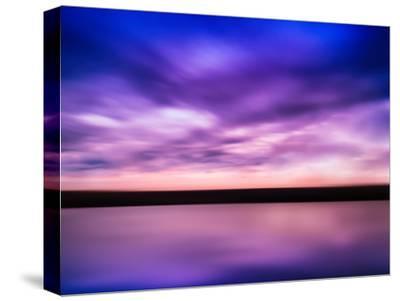Horizontal Vivid Pink Purple River Sunset with Reflection Horizo-Nickolay Loginov-Stretched Canvas Print
