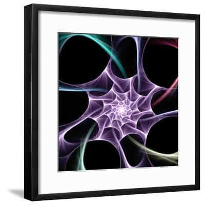 Computer Generated Flame Based Fractal on Form Odf a Spider Web - Useful Creative Design Element- Gala98-Framed Photographic Print