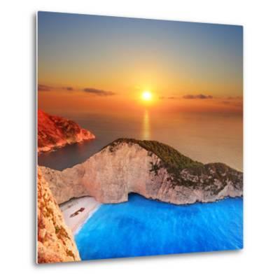 A Panorama of Sunset over Zakynthos Island, Greece-Ljsphotography-Metal Print