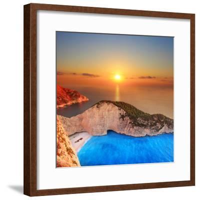 A Panorama of Sunset over Zakynthos Island, Greece-Ljsphotography-Framed Photographic Print
