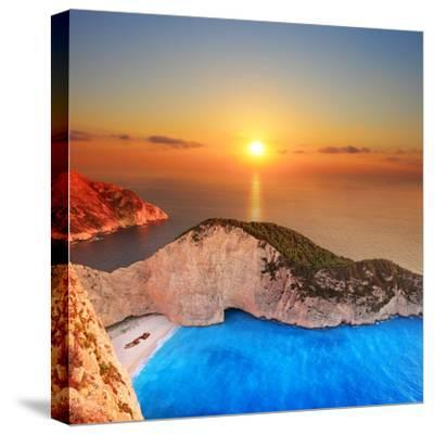 A Panorama of Sunset over Zakynthos Island, Greece-Ljsphotography-Stretched Canvas Print