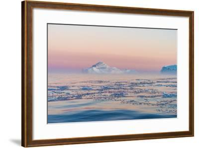 Stunning Iceberg Landscape with Midnight Sun Colors at Mouth ofIcefjord, Near Ilulissat, Greenland-Luis Leamus-Framed Photographic Print