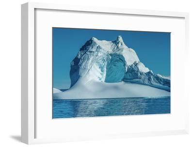 Huge Stranded Icebergs at the Mouth of the Icejord Near Ilulissat at Midnight, Greenland-Luis Leamus-Framed Photographic Print