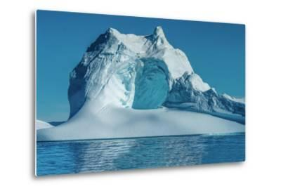 Huge Stranded Icebergs at the Mouth of the Icejord Near Ilulissat at Midnight, Greenland-Luis Leamus-Metal Print