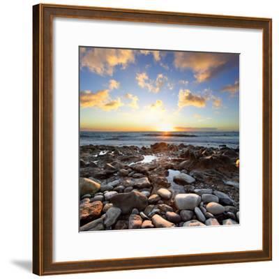 Beautiful Sunset at Atlantic Ocean. Tenerife, Canary Islands-Roman Sigaev-Framed Photographic Print