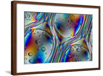 Polarized Stress Patterns in Row of Plastic Spoons with Carbonated Liquids from Above-Yon Marsh-Framed Photographic Print