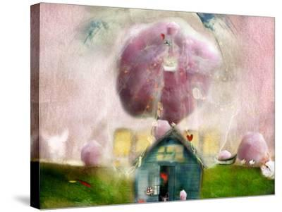 Conceptual Landscape with Cotton Candy, Animals and House- Karendivine-Stretched Canvas Print