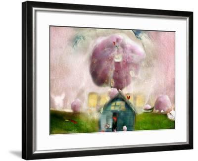 Conceptual Landscape with Cotton Candy, Animals and House- Karendivine-Framed Photographic Print