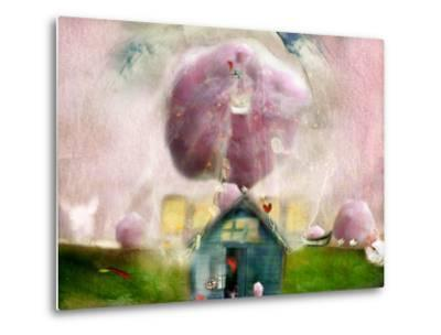Conceptual Landscape with Cotton Candy, Animals and House- Karendivine-Metal Print