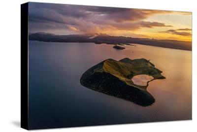 Aerial of a Small Island Named Sandey in Thingvallavatn or Lake Thingvellir, Iceland-Arctic-Images-Stretched Canvas Print