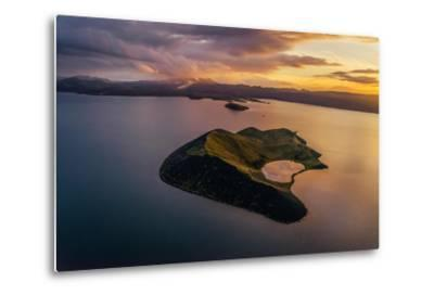 Aerial of a Small Island Named Sandey in Thingvallavatn or Lake Thingvellir, Iceland-Arctic-Images-Metal Print