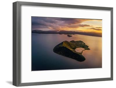 Aerial of a Small Island Named Sandey in Thingvallavatn or Lake Thingvellir, Iceland-Arctic-Images-Framed Photographic Print