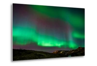 Northern Lights or Aurora Borealis over Mt. Ulfarsfell, Near Reykjavik, Iceland-Arctic-Images-Metal Print
