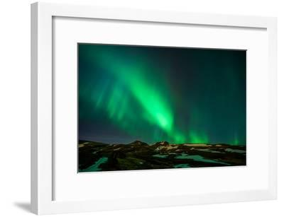 Northern Lights or Aurora Borealis over Mt. Ulfarsfell, Close to Reykjavik, Iceland-Arctic-Images-Framed Photographic Print