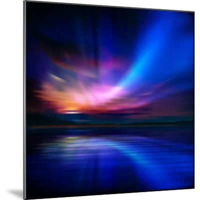 Abstract Nature Background with Aurora Borealis and Forest-Santa-Mounted Photographic Print