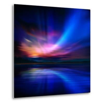 Abstract Nature Background with Aurora Borealis and Forest-Santa-Metal Print