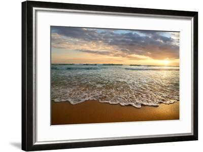 Bright Cloudy Sunset in the Calm Ocean- Givaga-Framed Photographic Print