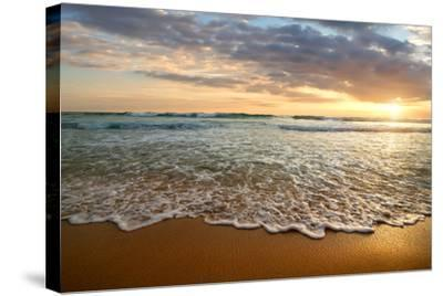 Bright Cloudy Sunset in the Calm Ocean- Givaga-Stretched Canvas Print