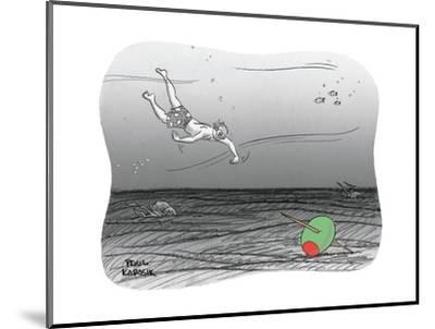 Diver reaches for martini olive. - New Yorker Cartoon-Paul Karasik-Mounted Premium Giclee Print
