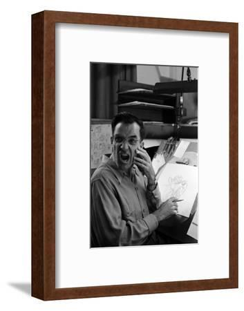 """Disney Artist Frank Johnson Works on a Drawing from """"Lady and the Tramp,"""" Burbank, CA, 1953-Alfred Eisenstaedt-Framed Photographic Print"""