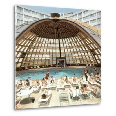 Dome over Swimming Pool as Guests are Served Cocktails at International Inn, Washington DC, 1963-Yale Joel-Metal Print