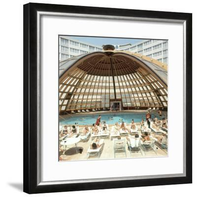 Dome over Swimming Pool as Guests are Served Cocktails at International Inn, Washington DC, 1963-Yale Joel-Framed Photographic Print