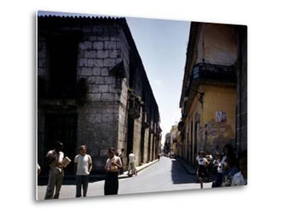 School Children and Passersby on St Ignaco Street in Havana, Cuba-Eliot Elisofon-Metal Print