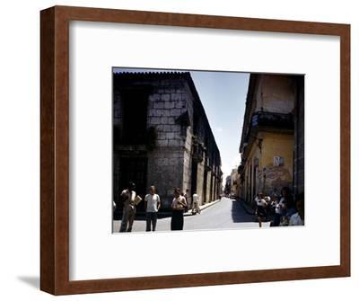 School Children and Passersby on St Ignaco Street in Havana, Cuba-Eliot Elisofon-Framed Photographic Print