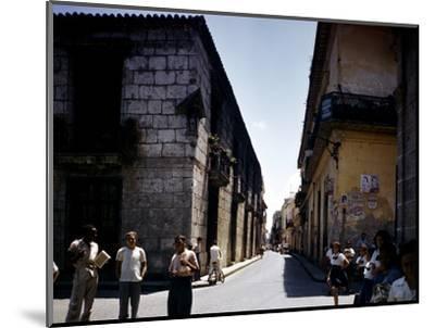 School Children and Passersby on St Ignaco Street in Havana, Cuba-Eliot Elisofon-Mounted Photographic Print