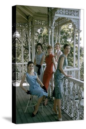 Australian Models Pose on a Porch, Melbourne, Australia, 1956-John Dominis-Stretched Canvas Print
