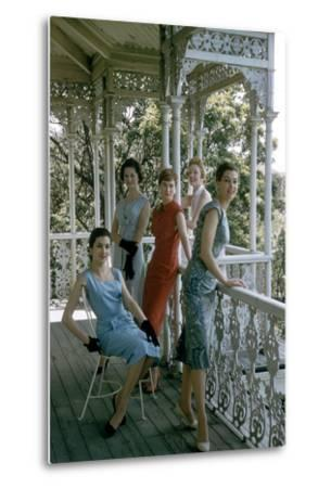 Australian Models Pose on a Porch, Melbourne, Australia, 1956-John Dominis-Metal Print