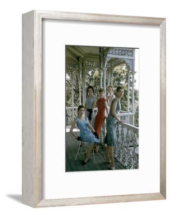 Australian Models Pose on a Porch, Melbourne, Australia, 1956-John Dominis-Framed Photographic Print