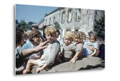 French Children in the Town of Avranches Sitting on Us Military Jeep, Normandy, France, 1944-Frank Scherschel-Metal Print
