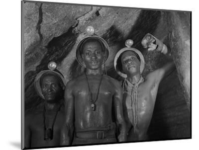 Gold Miners in Robinson Deep Diamond Mine Tunnel, Johannesburg, South Africa, 1950-Margaret Bourke-White-Mounted Photographic Print