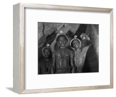 Gold Miners in Robinson Deep Diamond Mine Tunnel, Johannesburg, South Africa, 1950-Margaret Bourke-White-Framed Photographic Print