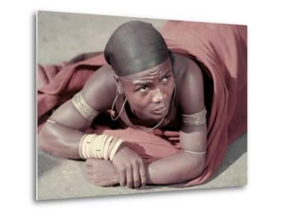 Tembu Miner Wearing Red Ochre Dyed Blanket Awaits Medial Check, Johannesburg, South Africa 1950-Margaret Bourke-White-Metal Print
