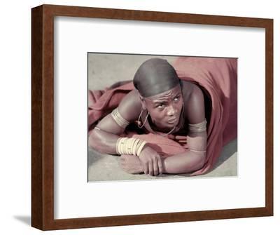 Tembu Miner Wearing Red Ochre Dyed Blanket Awaits Medial Check, Johannesburg, South Africa 1950-Margaret Bourke-White-Framed Photographic Print