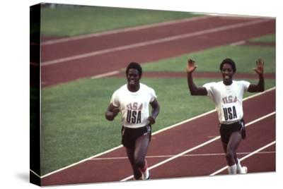 Winners of the 400-Meter Relay Race at the 1972 Summer Olympic Games in Munich, Germany-John Dominis-Stretched Canvas Print