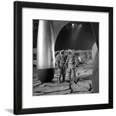 American Actors John Archer (L) and Warner Anderson on Set of 'Destination Moon', 1950-Allan Grant-Framed Photographic Print