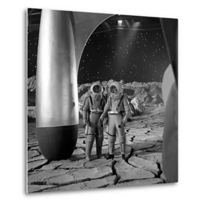 American Actors John Archer (L) and Warner Anderson on Set of 'Destination Moon', 1950-Allan Grant-Metal Print