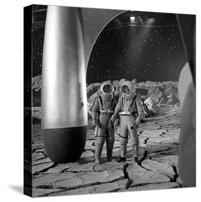 American Actors John Archer (L) and Warner Anderson on Set of 'Destination Moon', 1950-Allan Grant-Stretched Canvas Print