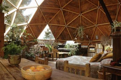 Geodesic Dome House Designed by Cathedralite Domes for Dr Charles Bingham, Fresno, CA, 1972-John Dominis-Framed Photographic Print