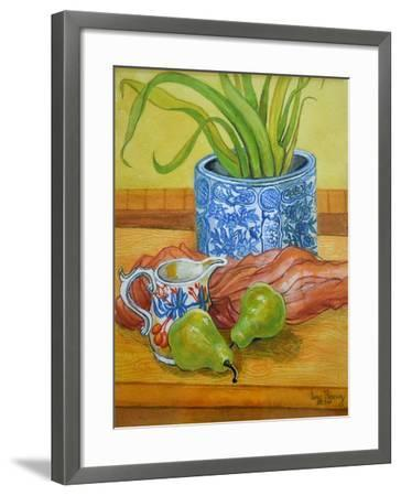 Blue and White Pot, Jug and Pears-Joan Thewsey-Framed Giclee Print