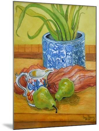 Blue and White Pot, Jug and Pears-Joan Thewsey-Mounted Giclee Print